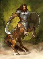 Centaur warrior by Gellihana-art