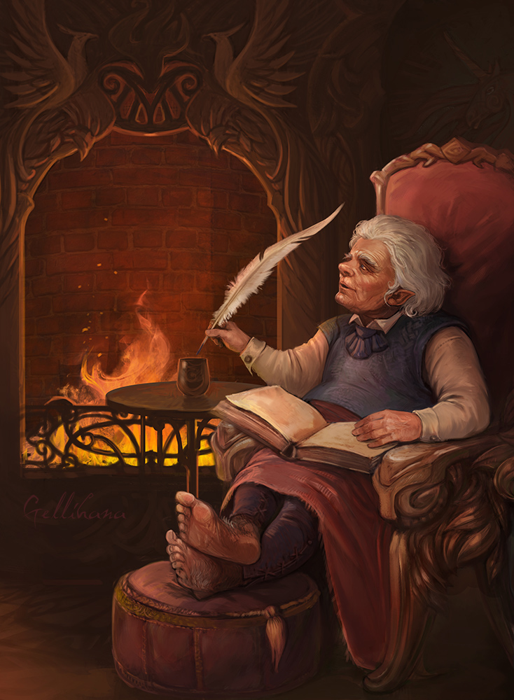 Artwork inspired by Tolkien - Page 27 Bilbo_in_rivendell_by_julaxart-d5im3ki