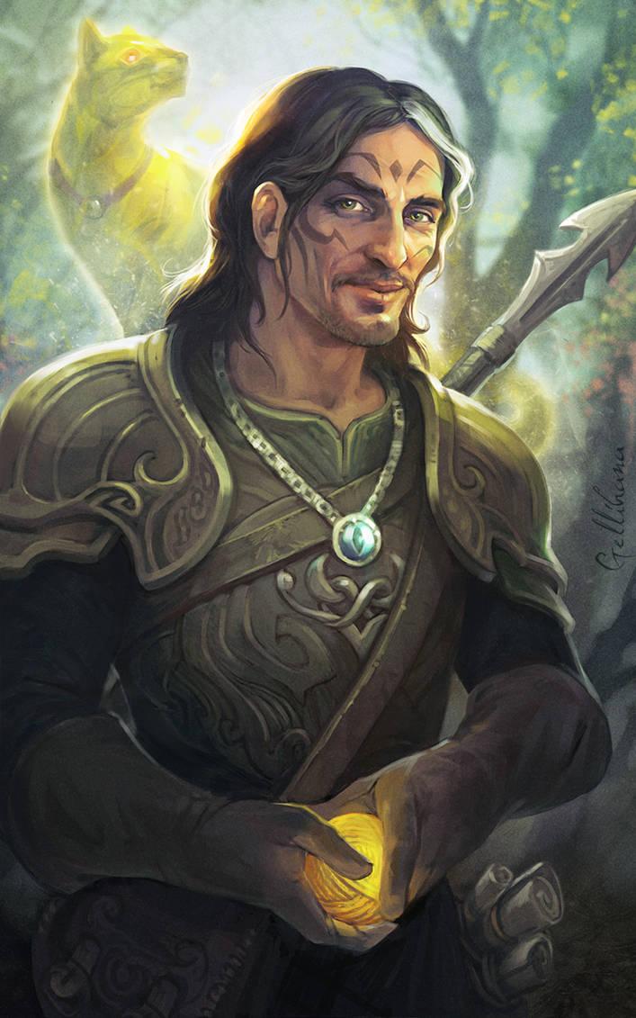Druid and his familiar by Gellihana-art
