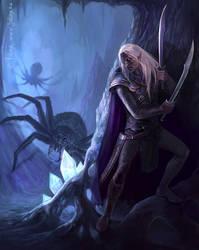 In the Cave - Drizzt Do'Urden by Gellihana-art