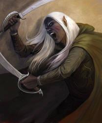 Drow warrior by Gellihana-art