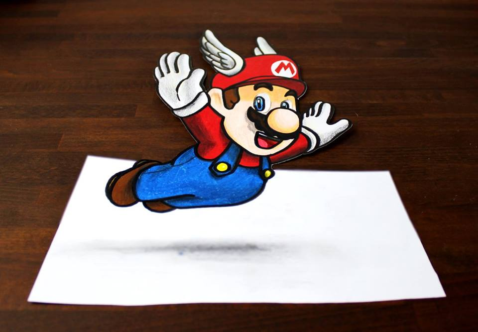 how to draw 3d mario