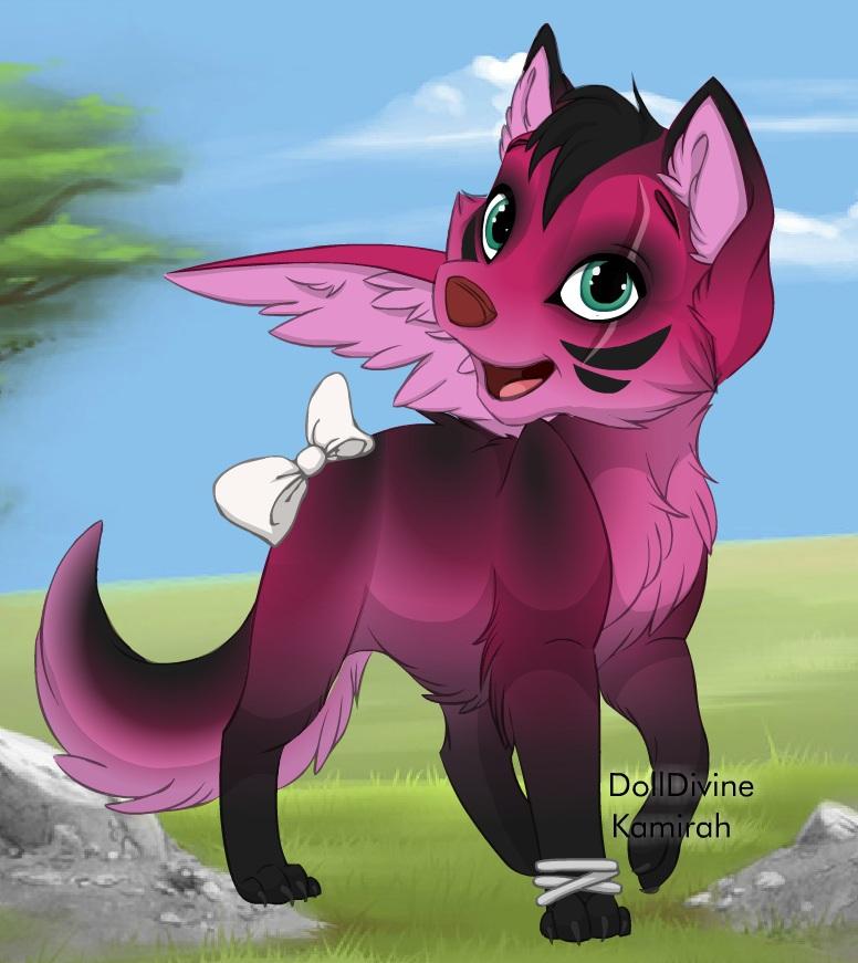 Cute cartoon wolf pup