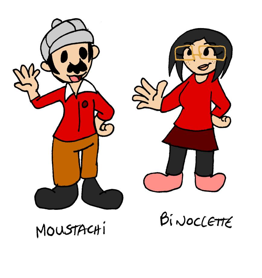Moustachi and Binoclette 2D rendition by Aso-Designer