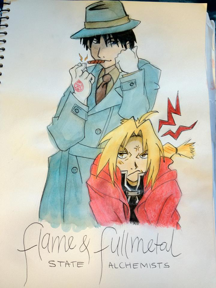 Flame and Fullmetal Watercolour by xXPharaohKissesXx