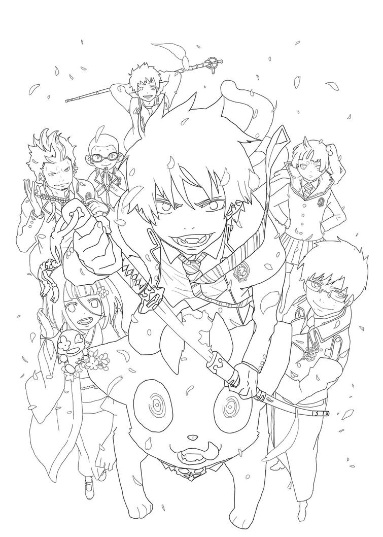 blue exorcist lineart by blackxfish on deviantart Attack On Titan Coloring Pages Attack On Titan Coloring Pages