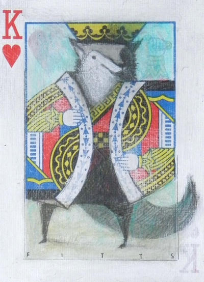 King of Hearts: Wolf ACEO by SethFitts