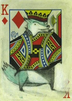 Blue Dog Diamond King ACEO by SethFitts