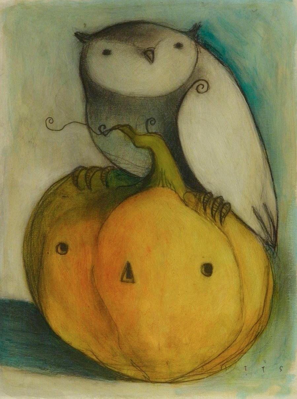 Owl and Jack O Lantern by SethFitts