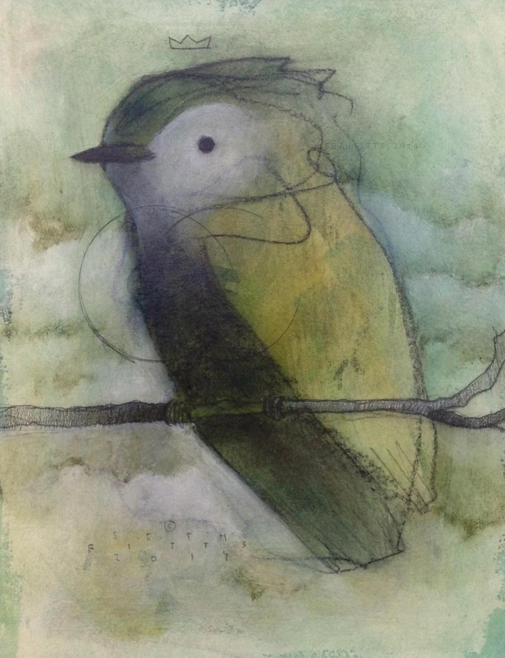 Tufted Bird, Green by SethFitts