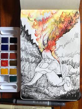 The burning head