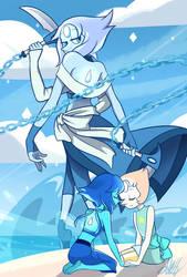 Moonstone Fanfusion - Lapis Lazuli and Pearl by AmandaHenriquez