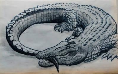 Realistic Ouroboros - Crocodile