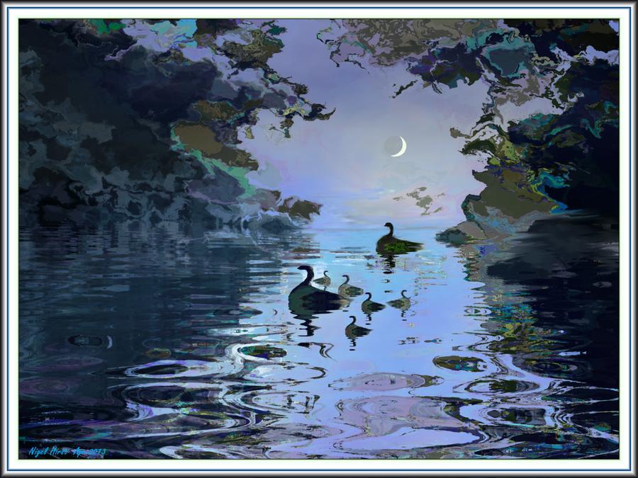 Broadditch Pond - Late Swim by Nigel-Hirst