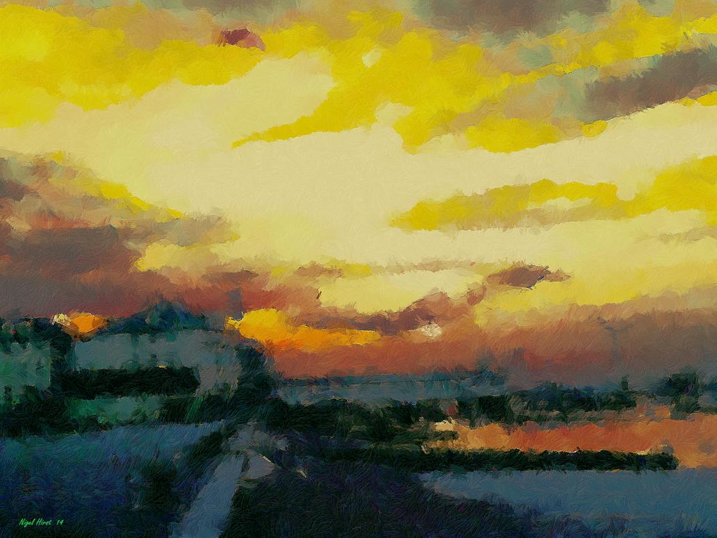 Sunset Over Gravesend Promenade by Nigel-Hirst