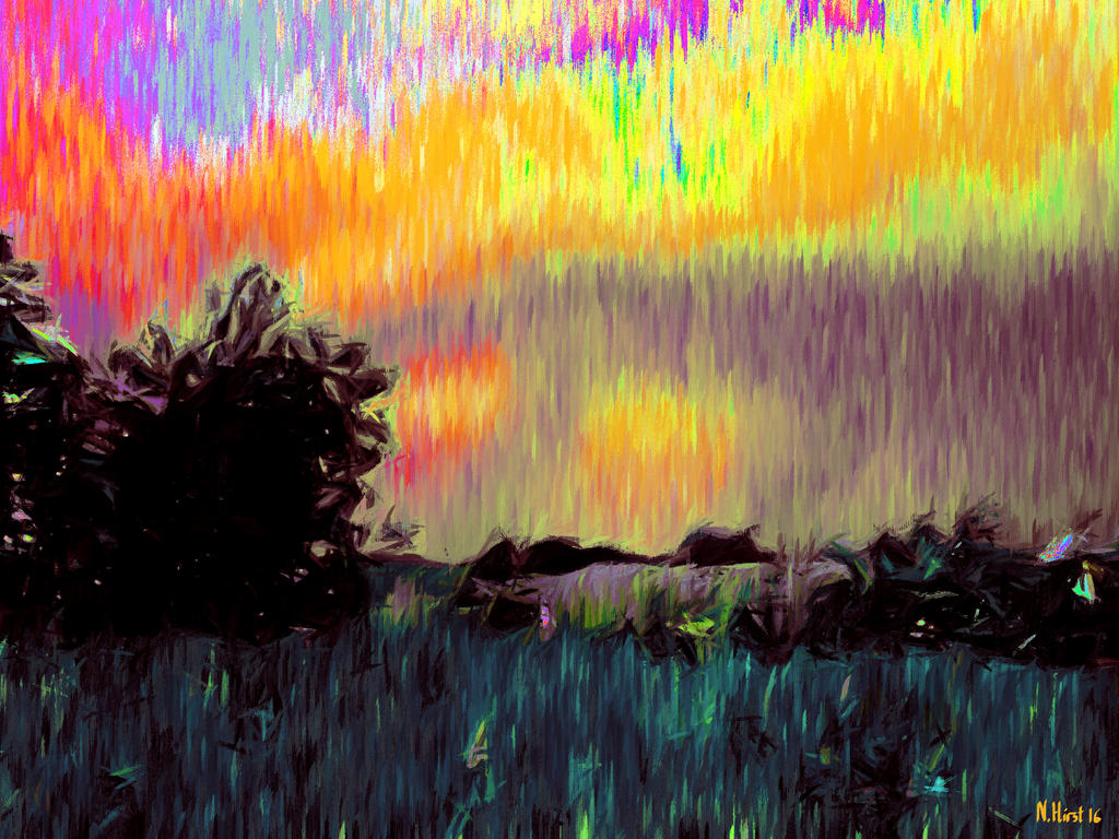 A Fauvist Sunset Over Ifield by Nigel-Hirst