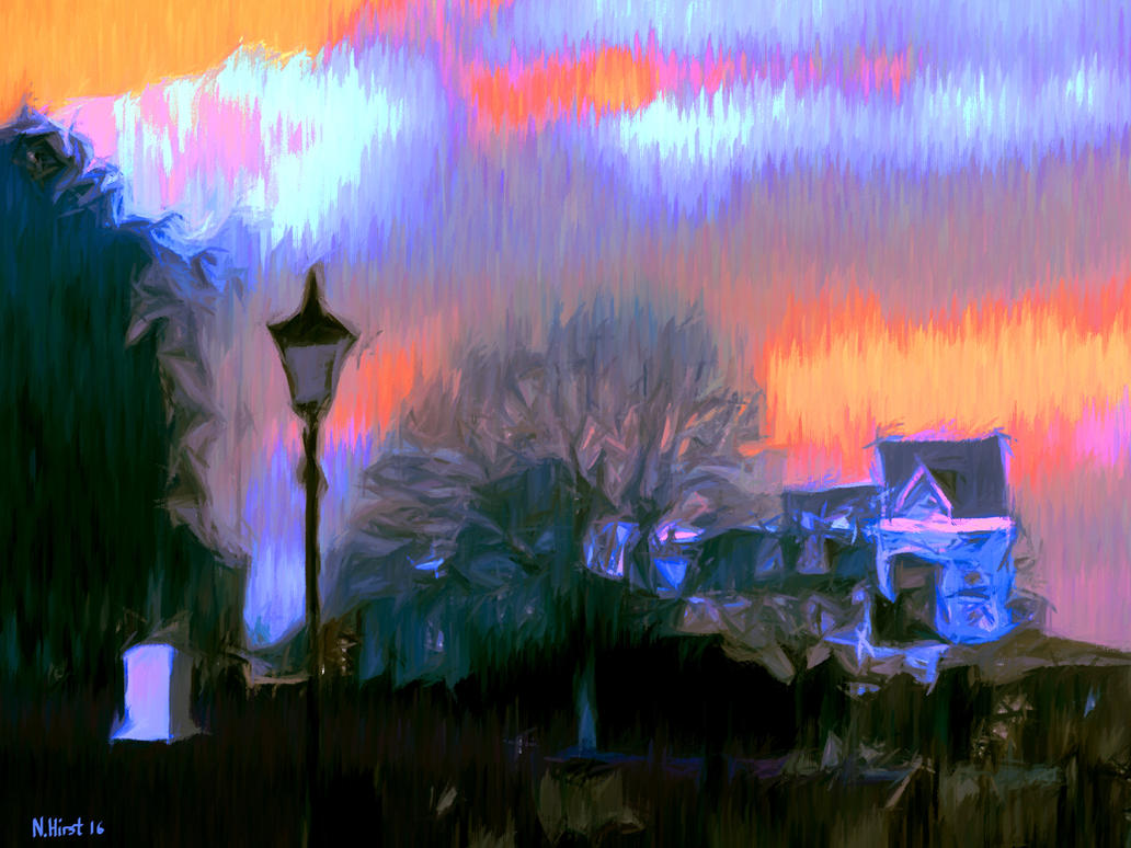 Sunset Over St Andrews Gardens Gravesend by Nigel-Hirst
