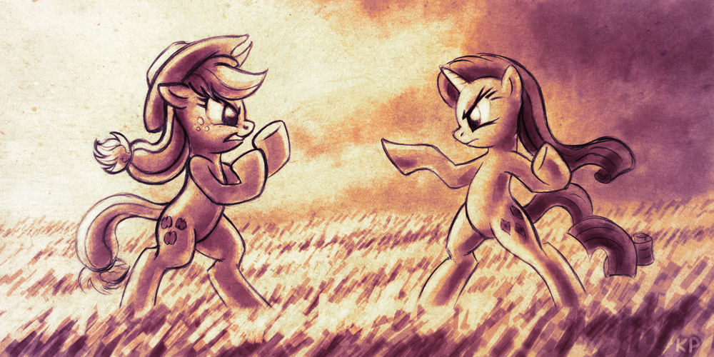 AJ vs Rarity by KP-ShadowSquirrel