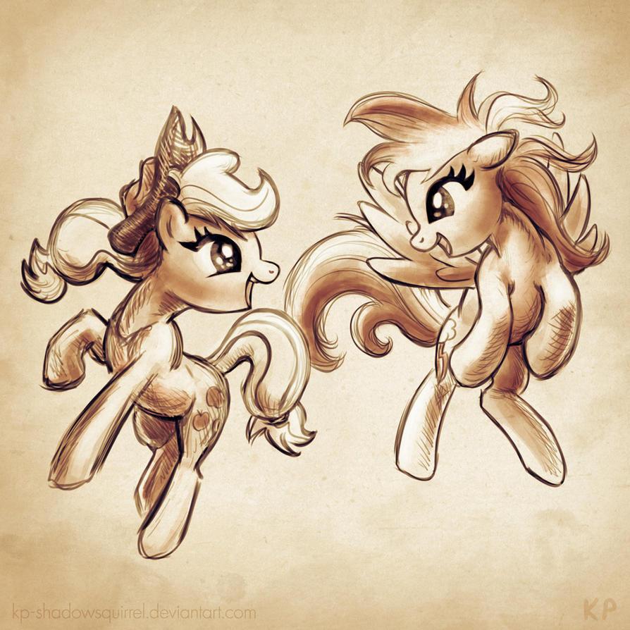 Applejack and Rainbow Dash by KP-ShadowSquirrel