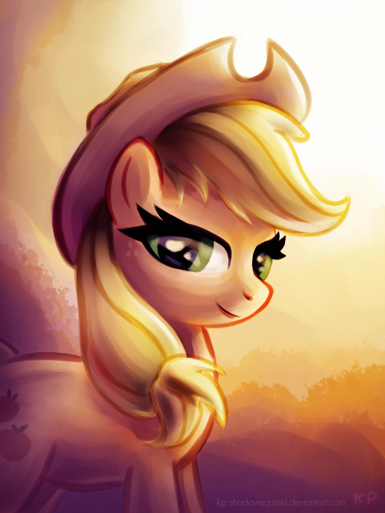 Applejack Sunset Portrait by KP-ShadowSquirrel