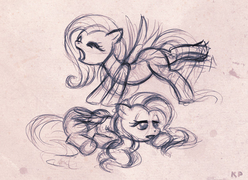 Tired Fluttershy sketch by KP-ShadowSquirrel