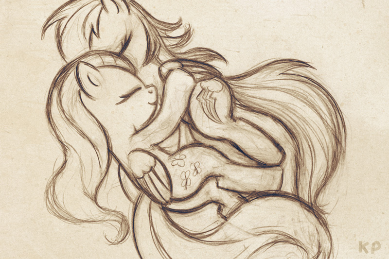 Fluttershy and RD sketch by KP-ShadowSquirrel