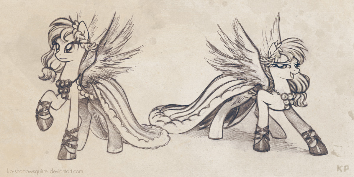 Rainbow Dash Gala Dress Sketches by KP-ShadowSquirrel