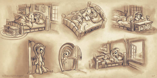 Fluttershy Sketches by KP-ShadowSquirrel