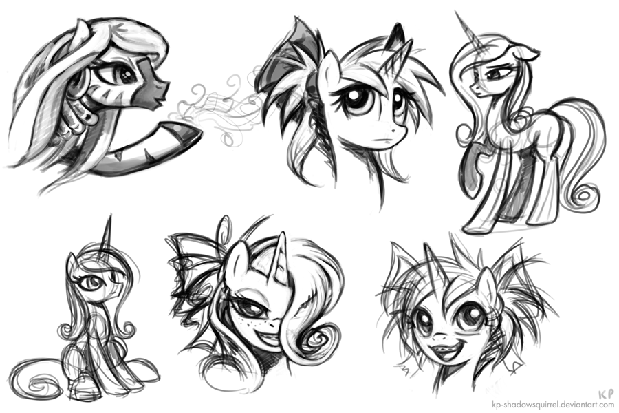 Some Portrait Sketches by KP-ShadowSquirrel