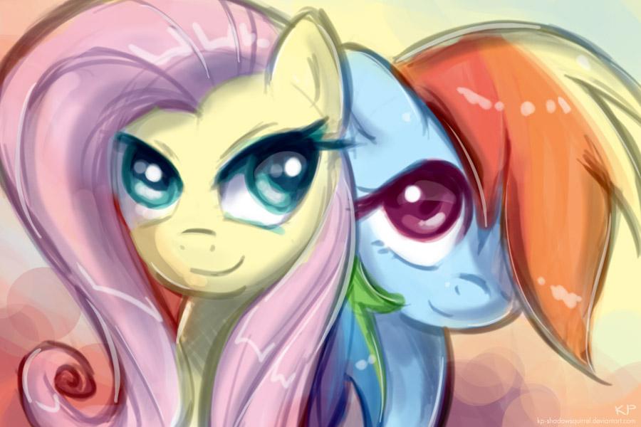 Flutterdash and Rainbow Shy by KP-ShadowSquirrel