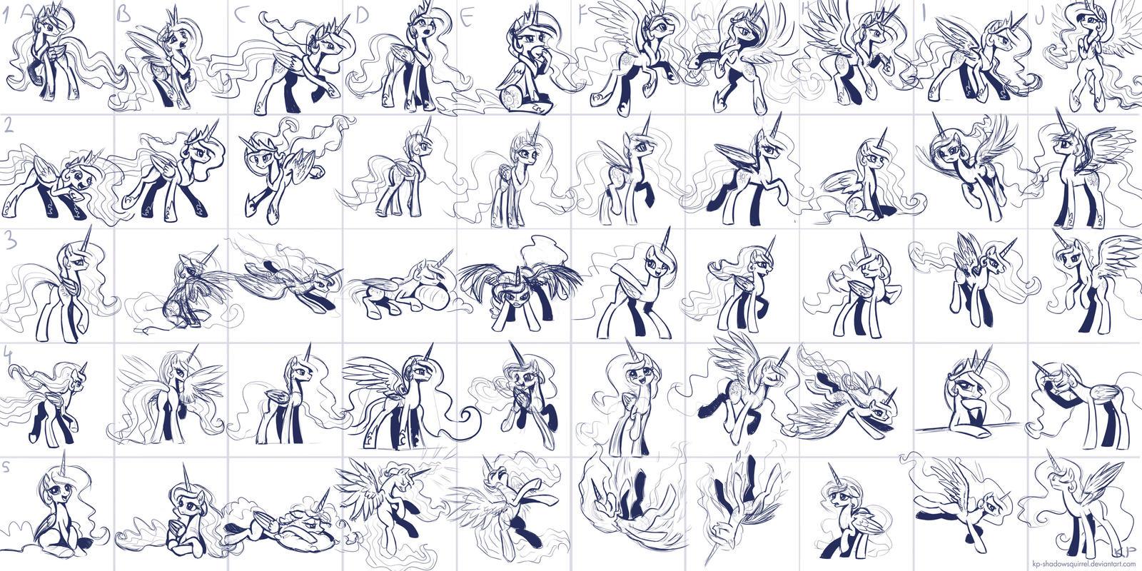 Super Speedy Celestia Sketches by KP-ShadowSquirrel