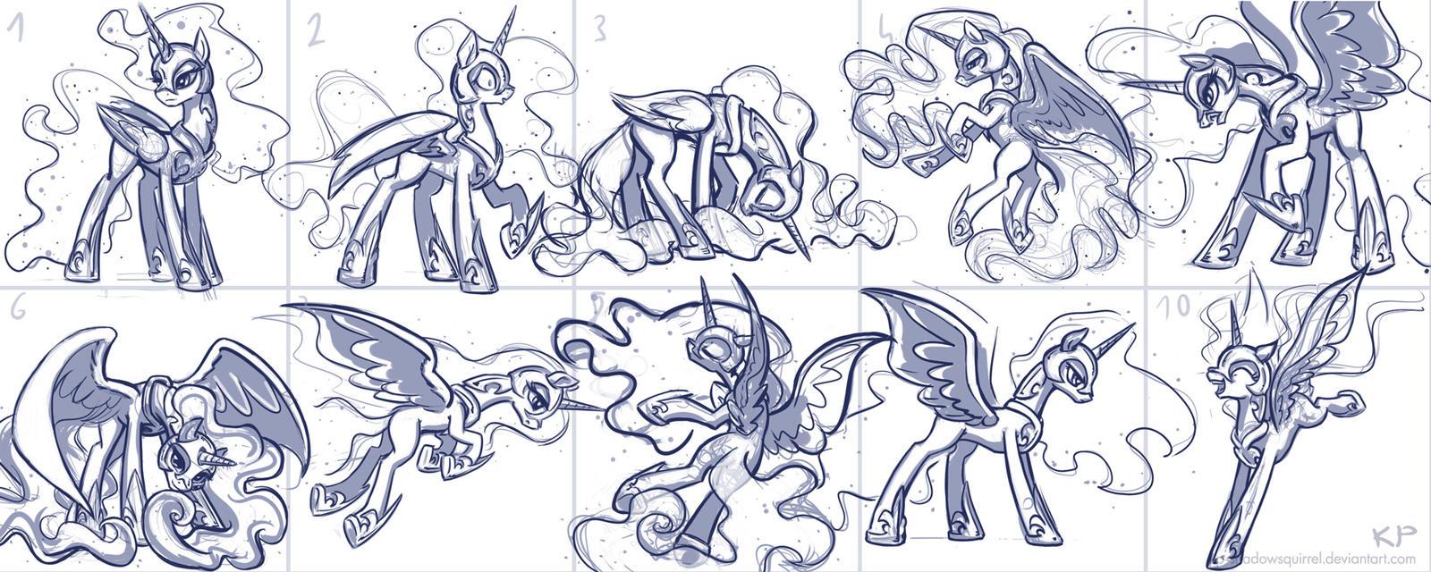 Nightmare Moon Sketches by KP-ShadowSquirrel