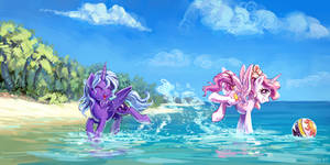 Luna And Celestia At The Beach