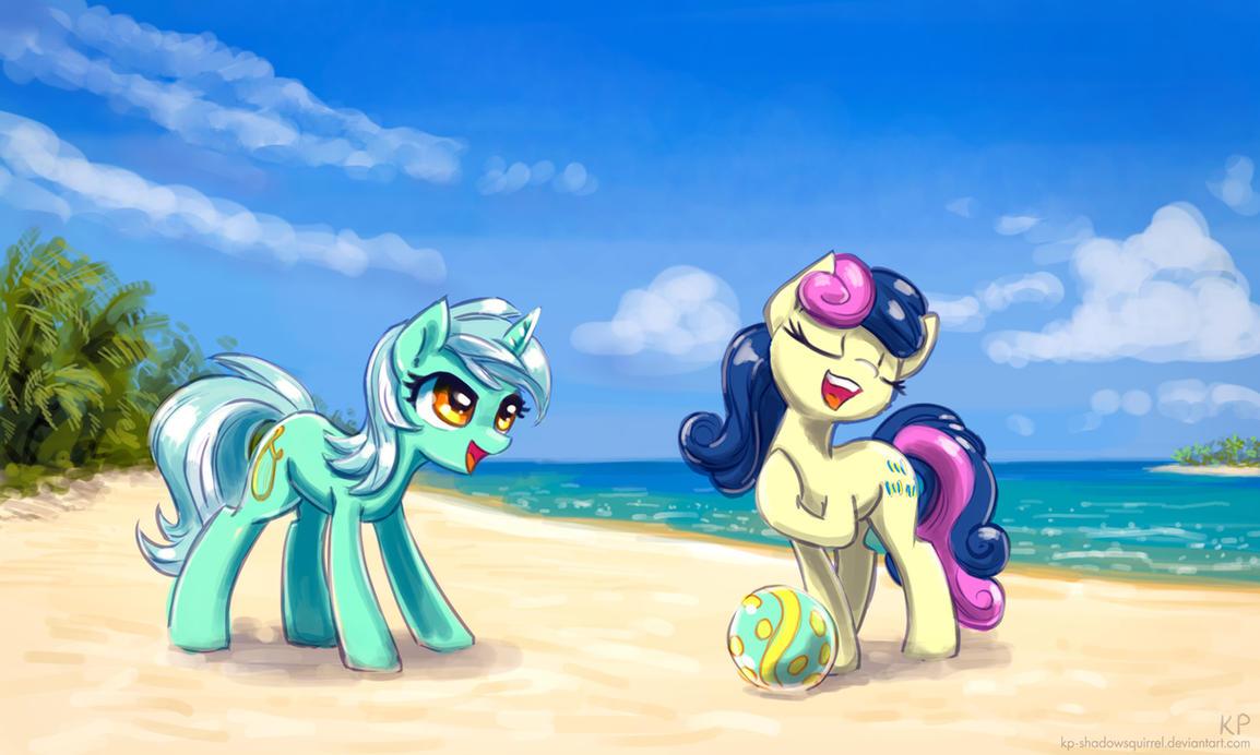 Lyra and Bon Bon at the beach