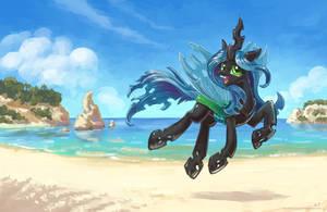 Chrysalis is still at the beach