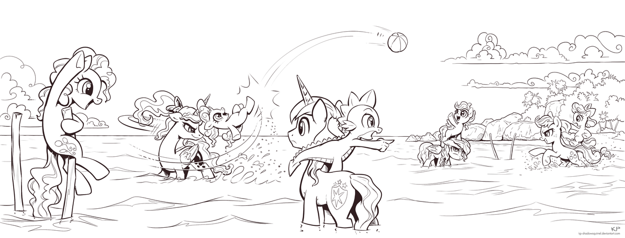 It's a beautiful day for a ballgame... (lineart) by KP-ShadowSquirrel