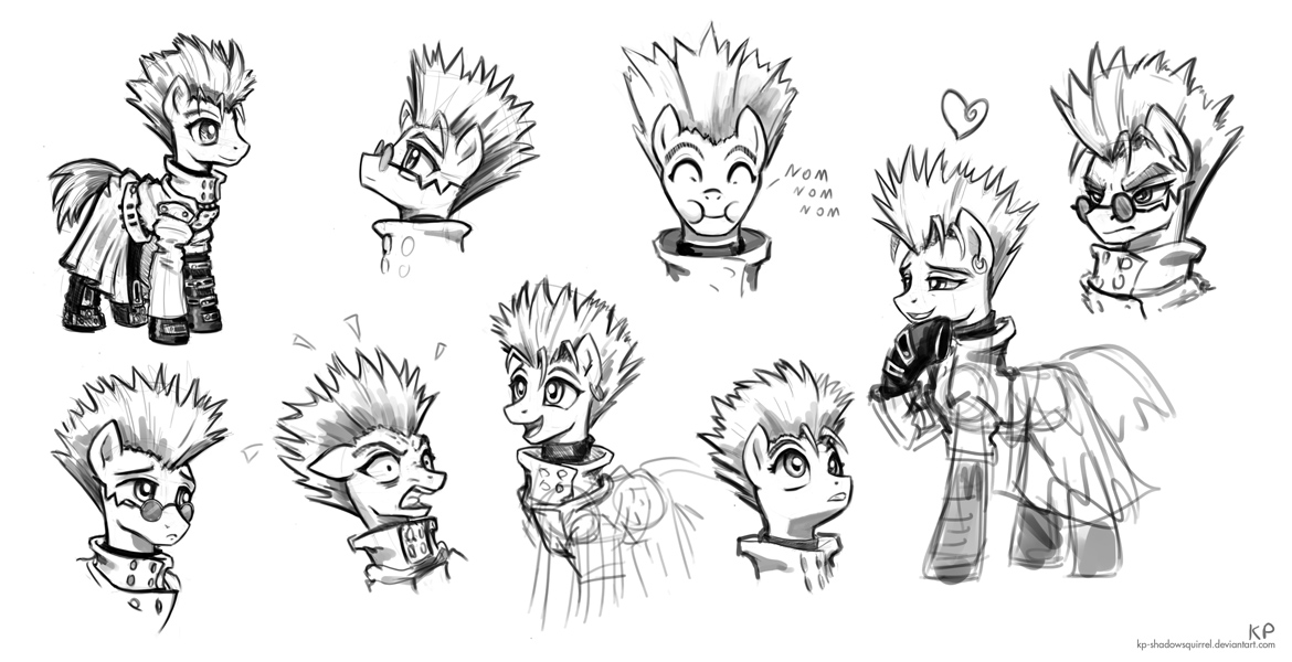 Vash the Stampede Sketches by KP-ShadowSquirrel