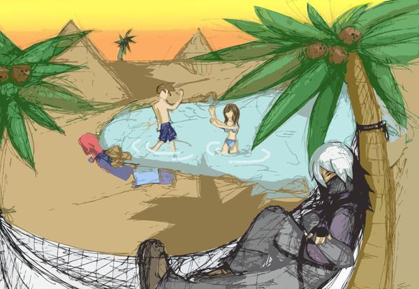 desert oasis drawing - photo #15