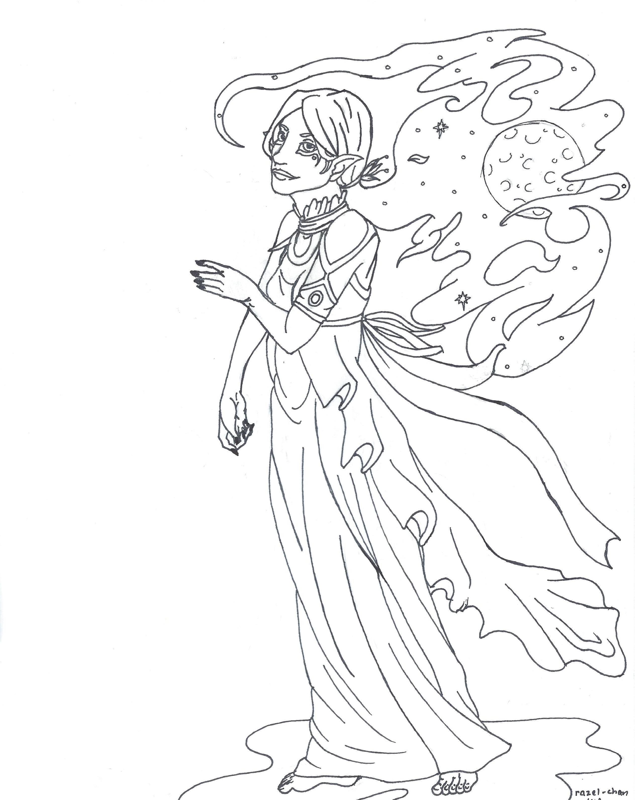 night elf coloring page by razel chan on deviantart