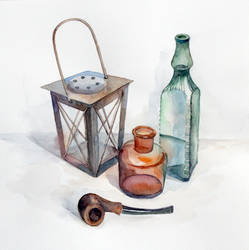 Bottles and pipe
