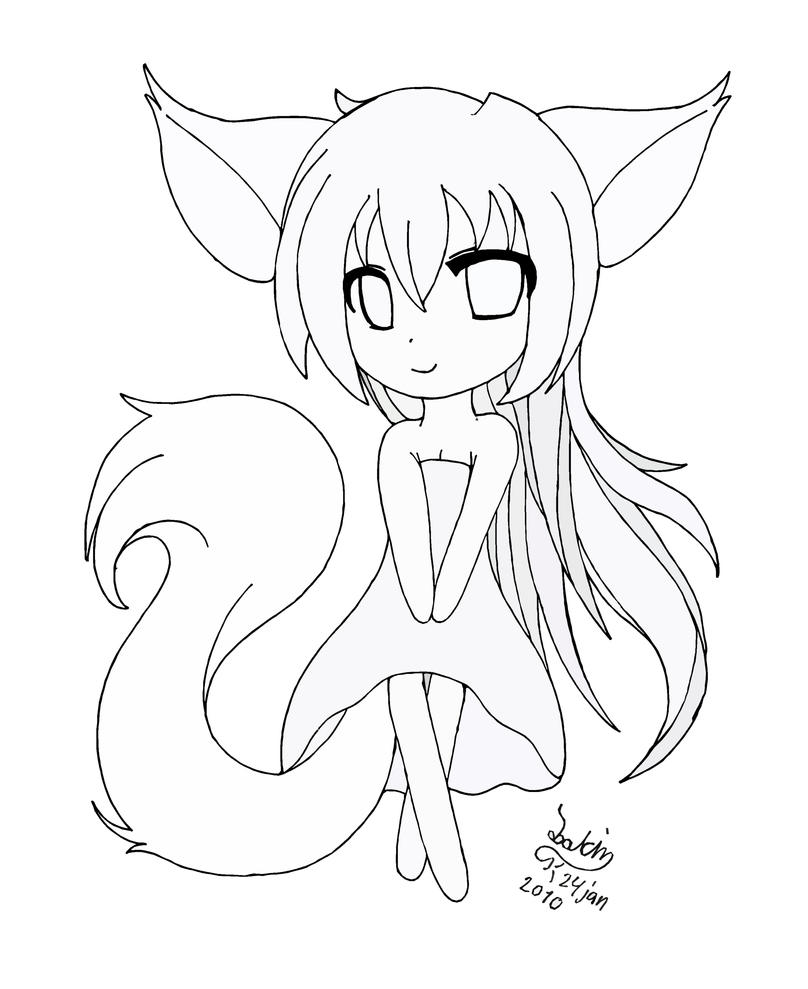Chibi Anime Cat Drawing Chibi fox girl lineart...