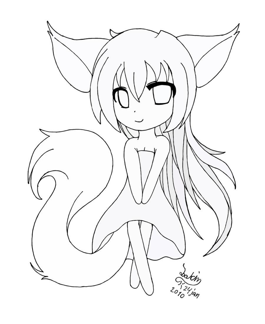 Chibi fox girl lineart by JoakahaAnime Chibi Cat Drawings