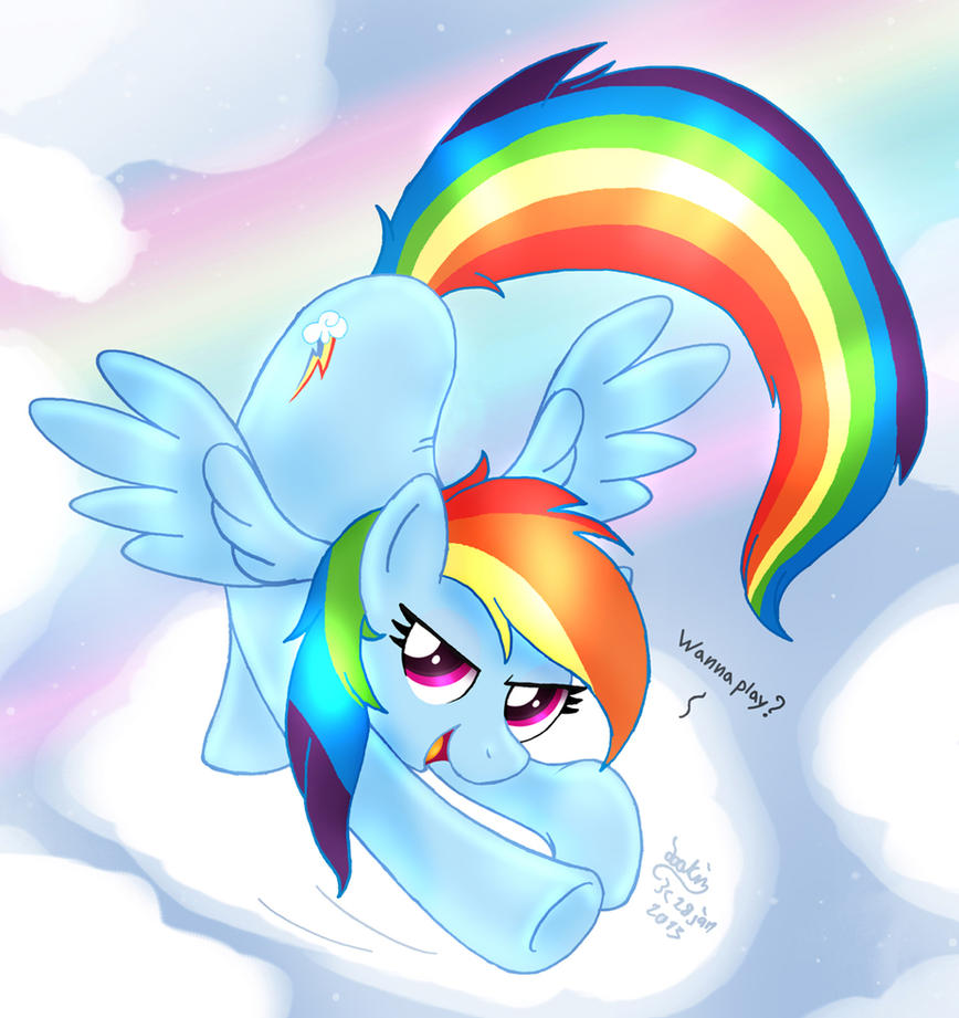 MLP FIM - Rainbow Dash Wanna Play by Joakaha