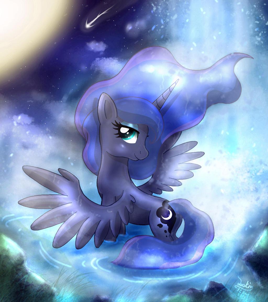 MLP FIM - Princess Luna Nigh Bath Moonlight Beauty by Joakaha