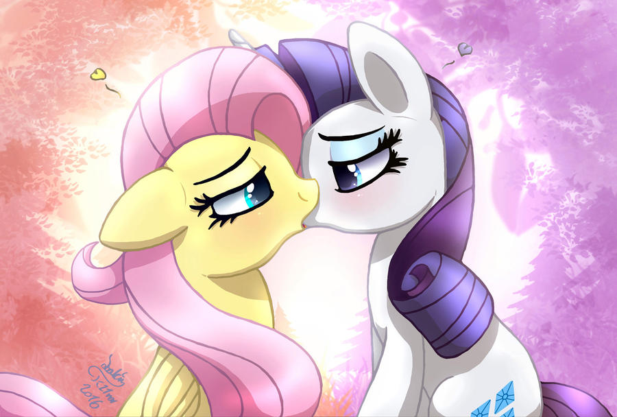 MLP FIM - Fluttershy And Rarity Kissing by Joakaha on ...
