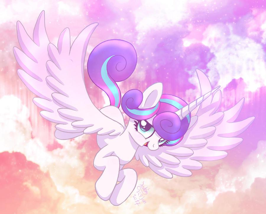 MLP FIM - Little Older Flurry Heart Flying by Joakaha