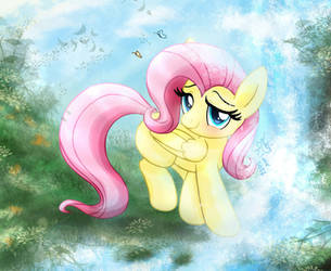 MLP FIM - Little Fluttershy Playing At A Waterfall by Joakaha