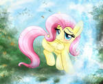 MLP FIM - Little Fluttershy Playing At A Waterfall