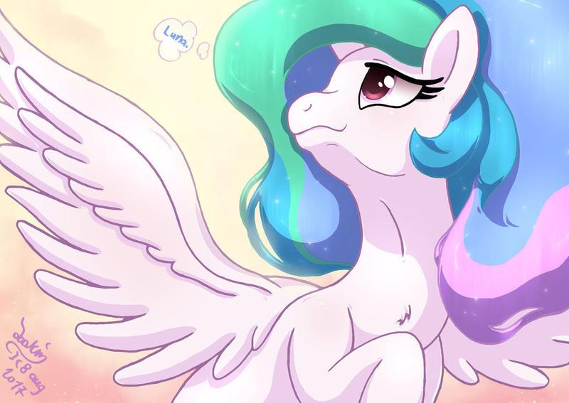 MLP FIM - Princess Celestia Thinking About Luna by Joakaha