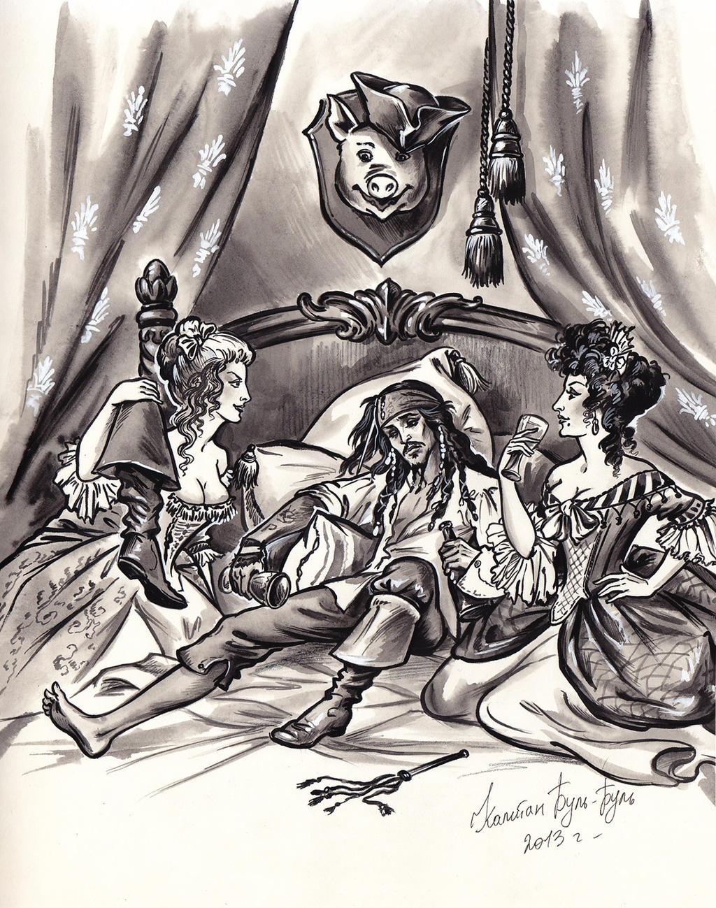 Captain Jack Sparrow, Giselle and Scarlett.